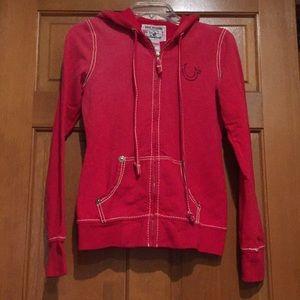 Women's true religion red zip-up hoodie